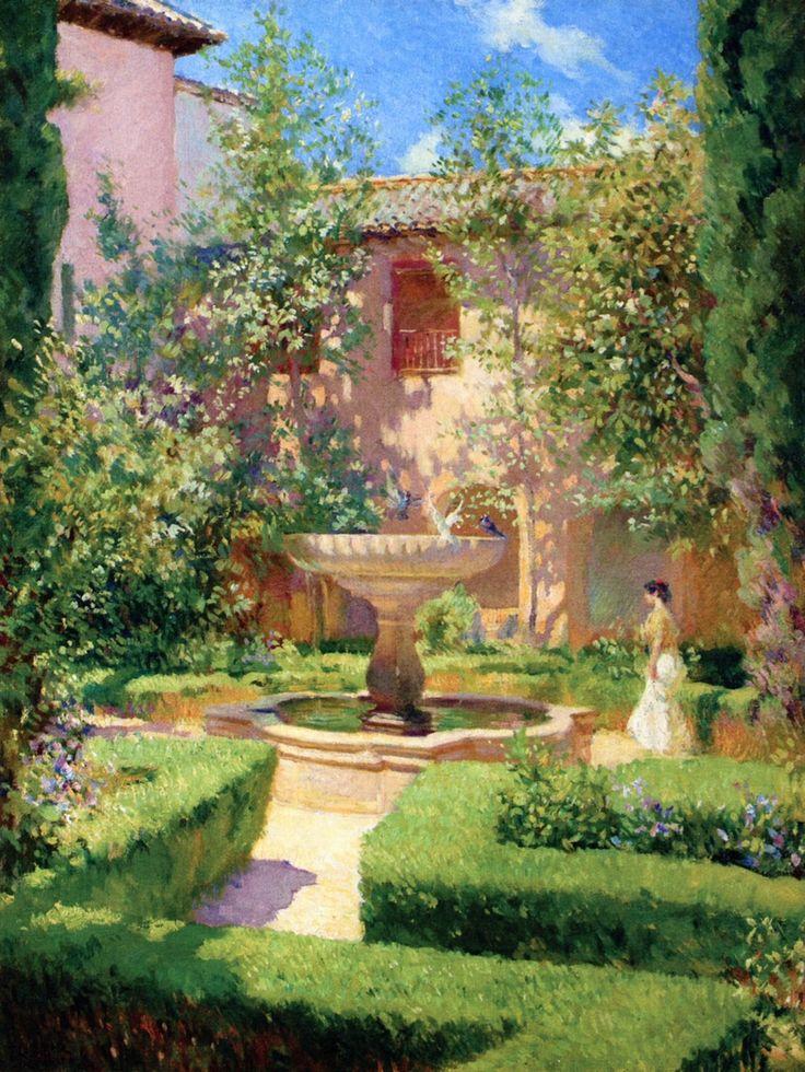 A garden in Granada - Francis Luis Mora 1909