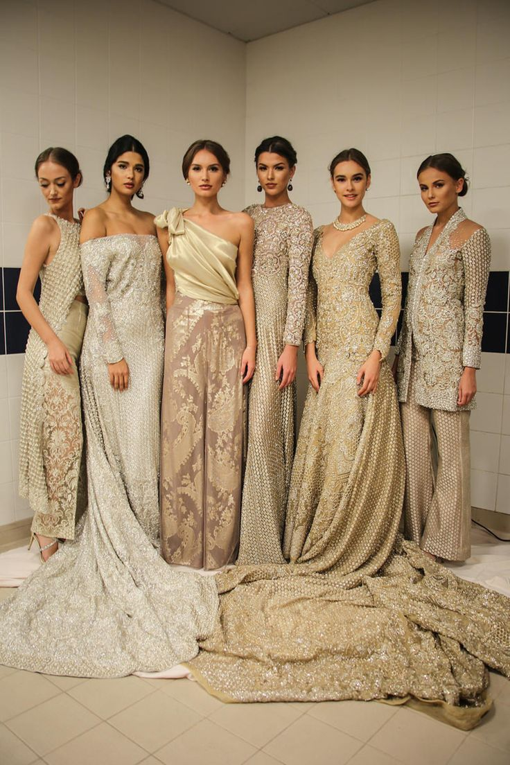 Pin #8: The collection of these dresses are unified by the variations of sand colors and beaded, detailed, and draped fabric all while each displaying a different silhouette