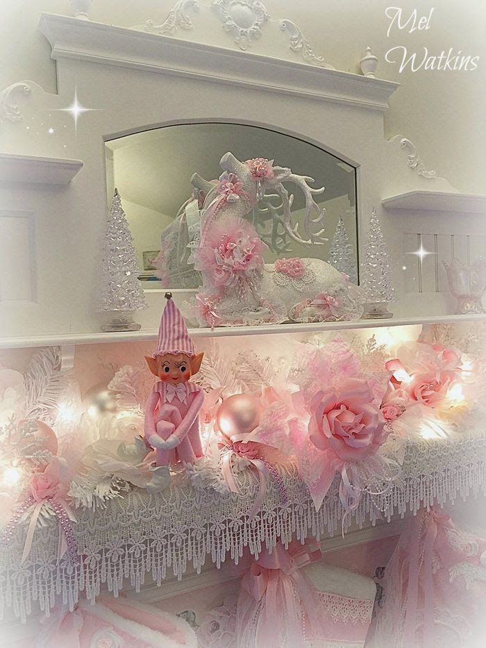 Olivia's Romantic Home: Mel's Pink Christmas Home Tour - pink elf on the shelf!
