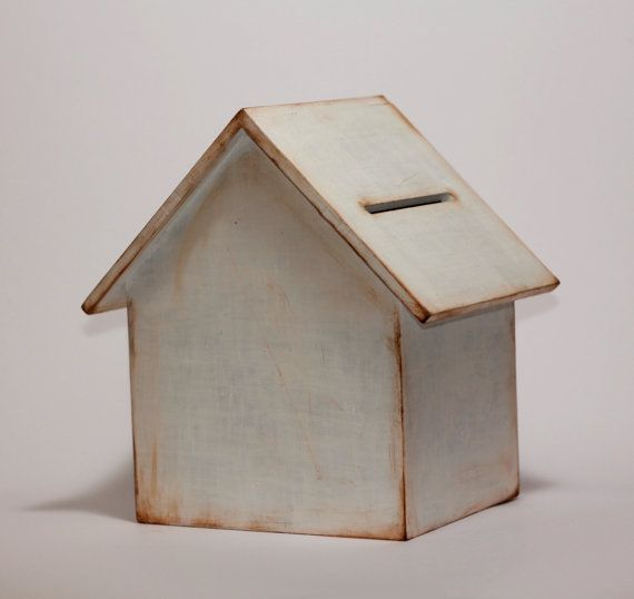Wooden house money box piggybox home decor vintage for How to decorate a money box