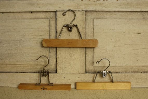 Set of 3 Vintage Wooden Pants Hangers, Wood and Metal Hangers, Wall Art Hangers, Poster Hanger, Vintage Print Wall Hanger, Home & Living