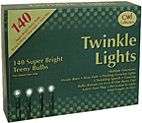 KP Creek Gifts - Twinkle Lights, Green Cord, 140 ct