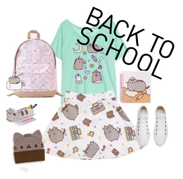 """#PVxPusheen"" by itstyrell on Polyvore featuring Pusheen, Converse, contestentry and PVxPusheen"