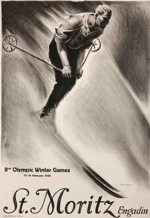 vintageski:    Poster for the 1928 Winter Olympics in St. Moritz, Switzerland. Illustration by Carl Moos.
