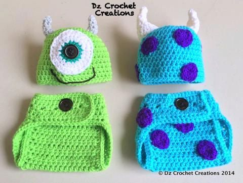 Crochet Mike and Sulley Inspired Monster Inc. Outfit - Photo Prop - Hat - Diaper Cover - Made with an Adjustable Waist - Twins - Halloween  sc 1 st  Pinterest & 498 best Crocheting Halloween images on Pinterest | Crochet ideas ...