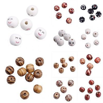 Wholesale Bulk Lots Wooden Round Ball Oval Loose Charm Beads DIY Bracelet Crafts