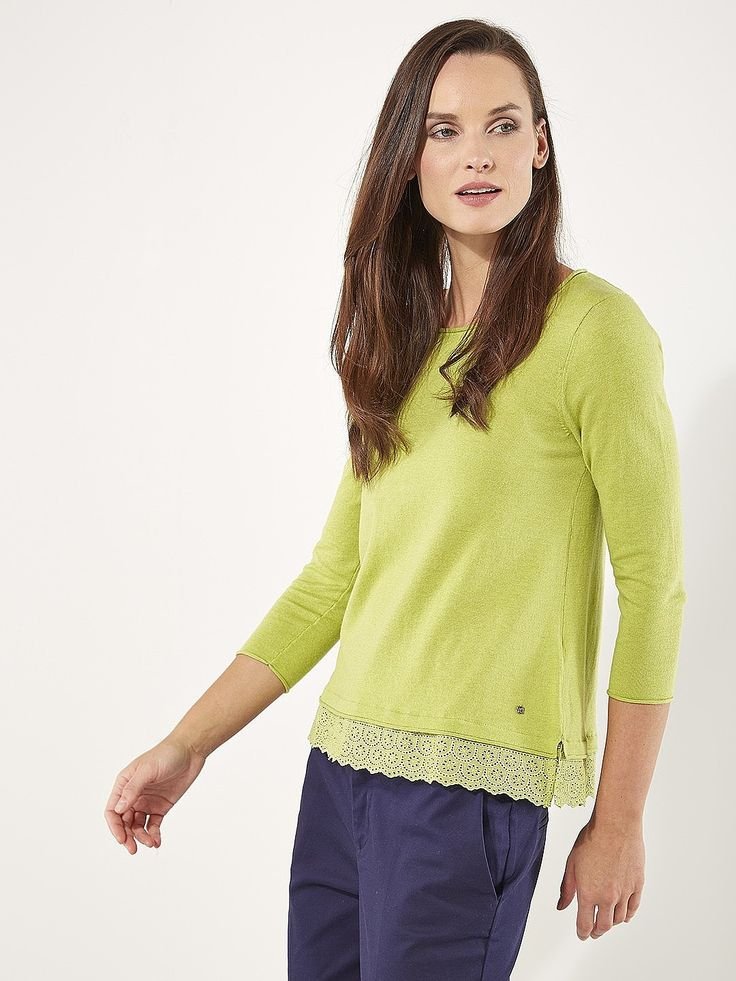 Womens lime garden party knit top from White Stuff - £45 at ClothingByColour.com
