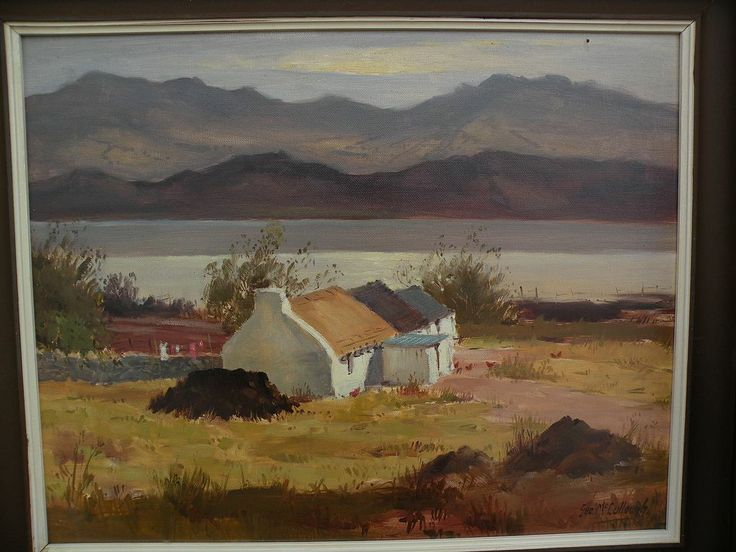 GEORGE McCULLOUGH 1922 Irish Art Landscape Painting With Cottage By From Jbfinearts On