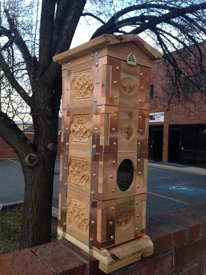Eco Bee Box Mini Cedar Hive 4 Box with 11 Carved Panels in Copper (as shown) #Beehive