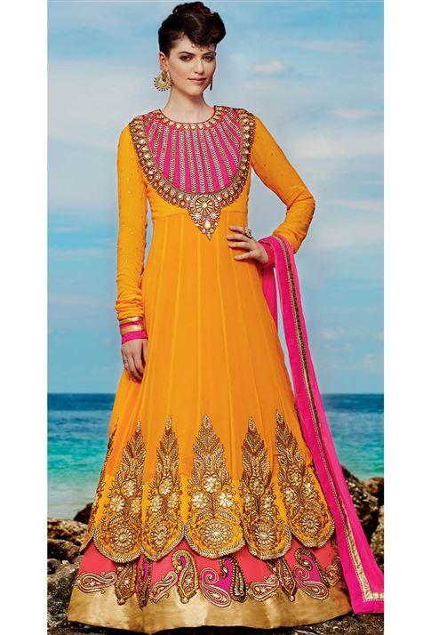 Vivacious Orange, Deep Pink Georgette Party wear Floor Touch Anarkali Suit