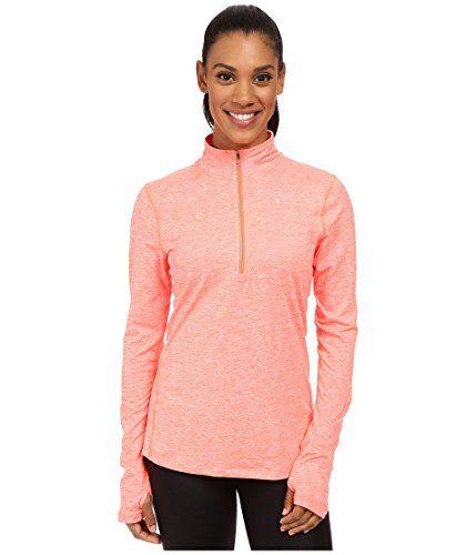 Nike Women's Dri-FIT? Element Half Zip Hyper Orange/Heather/Reflective Silver T-Shirt MD #nike #ad