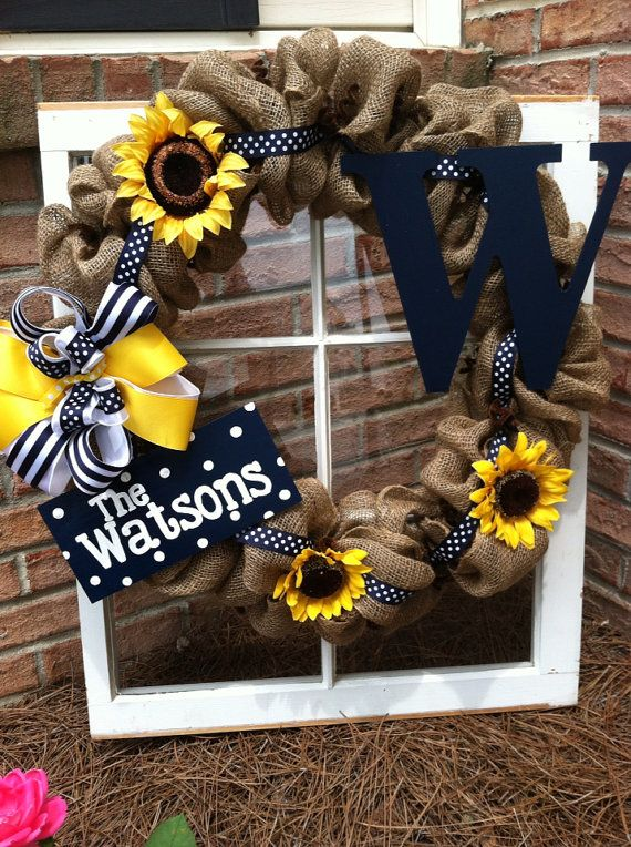 Summer Sunflower Burlap Wreath, black, yellow