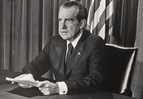 • Presidential Speeches, Nixon's Resignation Speech:   As the definition of America outlines, that it defends what is right from wrong, Nixon had to resign following his implication in the Watergate scandal. He gave a speech regarding his triumphs as well as his failings. When people recognize their shortcomings, they can always make better decisions. It is an honorable spirit.