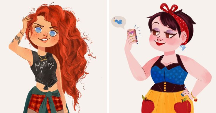 I Illustrated Disney Princesses As Modern Day Girls Living In The 21st Century | Bored Panda