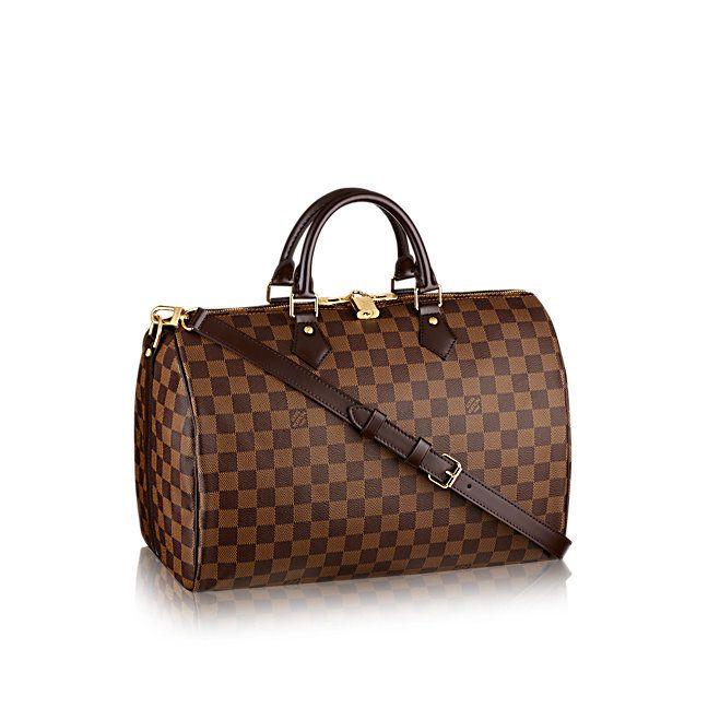 Speedy Bandoulière 35 - Damier Ebene Canvas - Handbags   LOUIS VUITTON