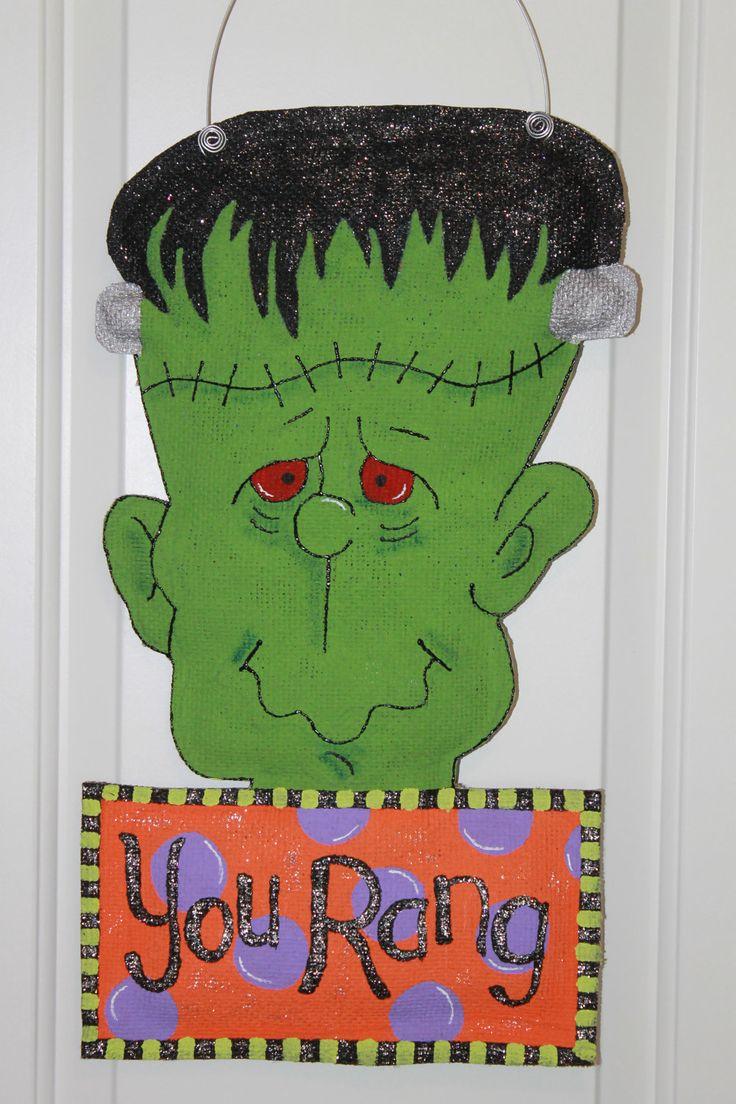 painted burlap door hangers | Frankenstein Burlap Door Hanger with Sign byu2026 & 83 best crafts - Door Hangers - Halloween images on Pinterest ... pezcame.com