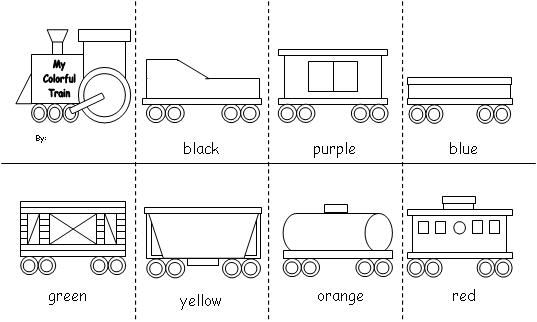 busy bodies sign images for daycare   Train Color Word Accordion Fold Reader
