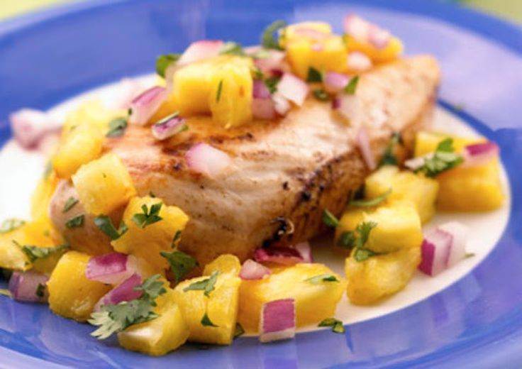 Island Chicken with Pineapple SalsaA delicious marinade keeps this chicken succulent as it grills. Top with this sweet 'n' spicy salsa and you'll discover a favorite new meal.