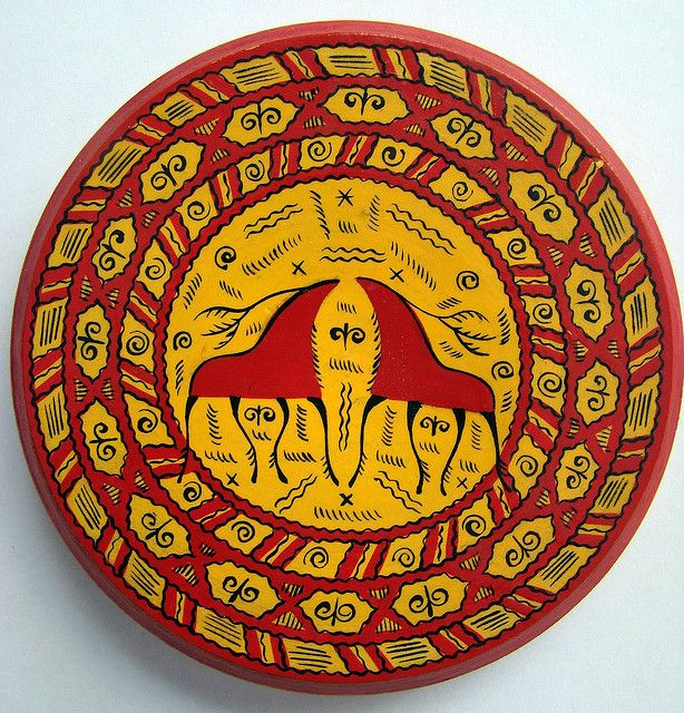 "russian wooden decorative plate ""mezenskaya"" painting"