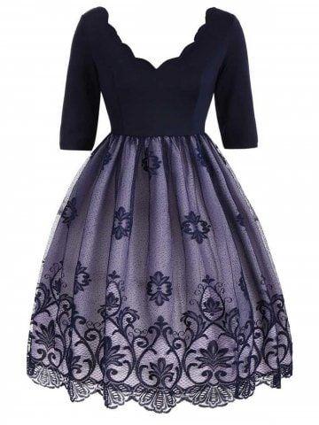 Plus Size Lace Panel Scalloped Vintage Dress Sxedia Gia Foremata