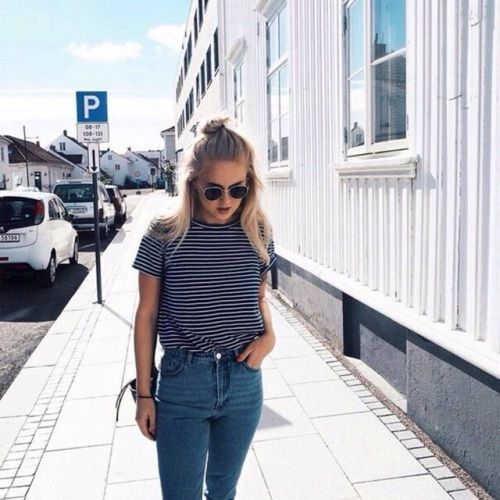 Striped top with high waisted jeans