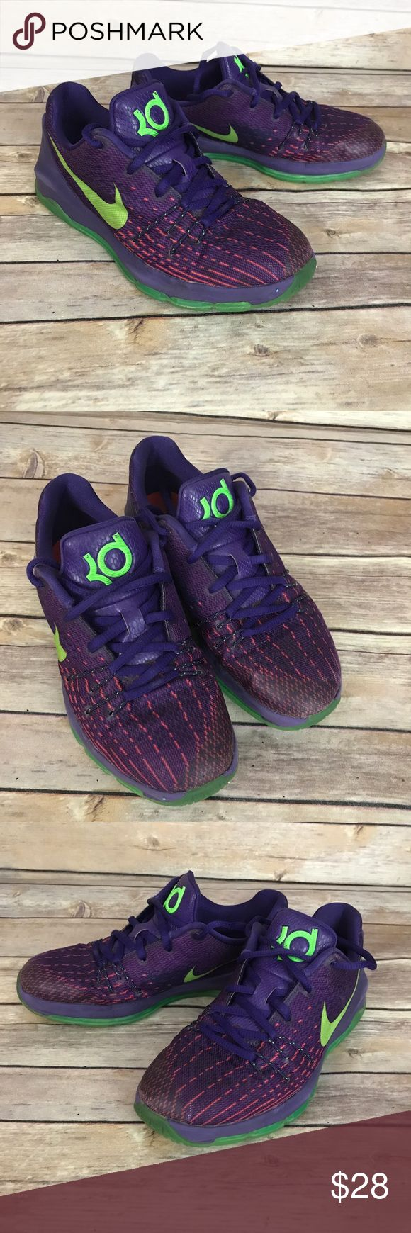 Nike Kd purple and green sneakers Girls 2Y Nike kd sneakers. Girls size 2Y. Purple and Green. Very good condition! Nike Shoes Sneakers