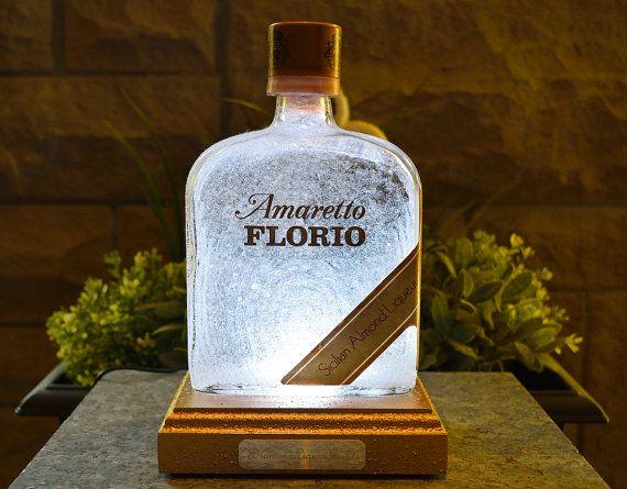 Amaretto Florio Liqueur Multicolour LED Bottle Lamp. Unique Gift, Table Lamp, Bar Lighting, Mood Lighting, LED Lighting. DiamondLiquorLights by DiamondLiquorLights