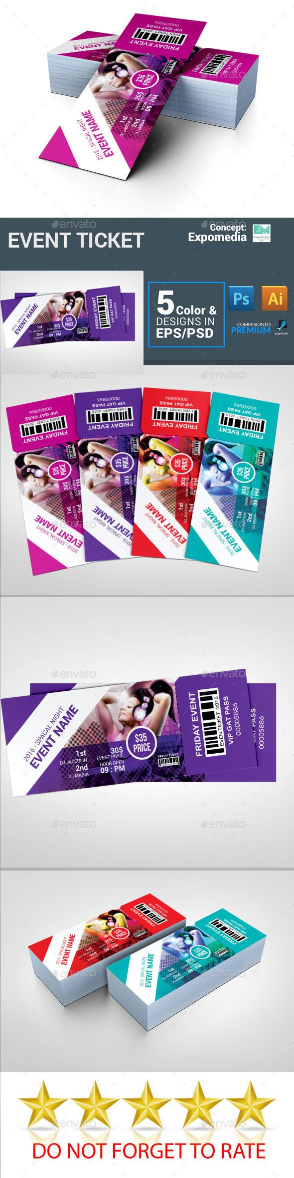 Event Ticket — Photoshop PSD #event tickets #concert • Download ➝ https://graphicriver.net/item/event-ticket/18855088?ref=pxcr