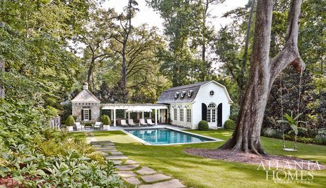 I recently came across this beautiful Dutch Colonial pool house designed by D. Stanley Dixon for clients in Atlanta's Buckhead neighborhood. Summer is the homeowners' favorite season. Wanting a retreat for entertaining, grilling, napping, and lounging poo