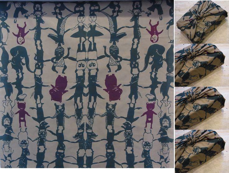 鴨川志野作 オリジナル手ぬぐい動物組体操二枚で風呂敷