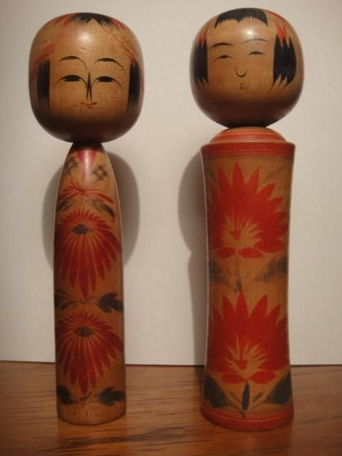 PAIR Kokeshi doll Kyoto antique Japan wooden signed handpainted mid century VGC