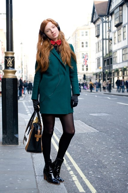"Nastya Pindeeva, model    ""I've teamed a COS coat with a bow tie from Italy, Calzedonia tights, American Apparel socks, Celine shoes and a bag."""
