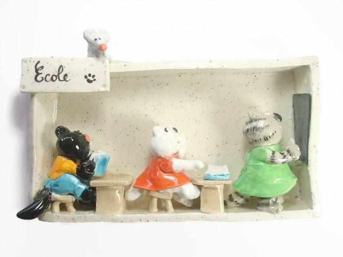 Cadre en relief céramique petite école de chats : Décorations murales par crisland