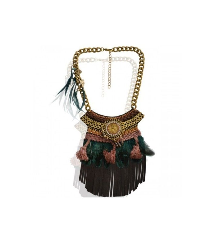 Bruine korte halsketting met franjes.