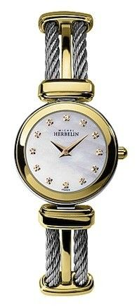 Michel Herbelin Ladies Mother Of Pearl Dial Two Tone Cable Watch 17420/BT59
