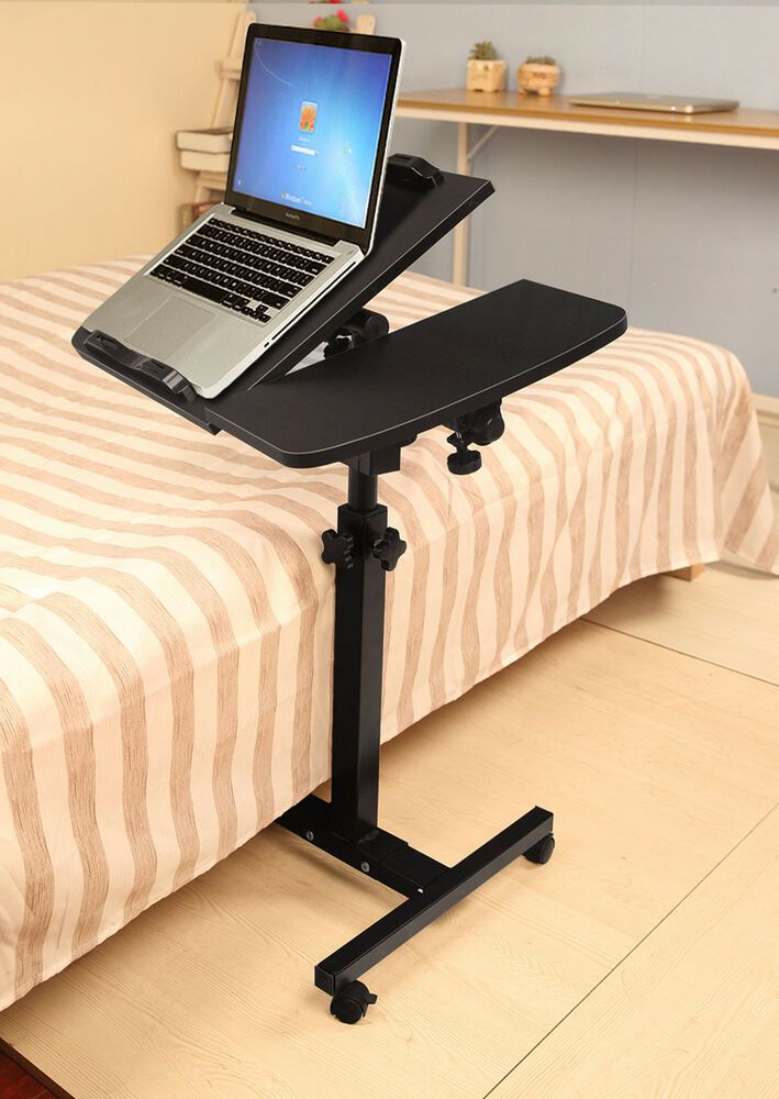 Angle Height Adjustable Rolling Laptop Desk Cart Over Bed Hospital Table Stand Affilink Desk Desksetup Hospital Table Desk Black Side Table