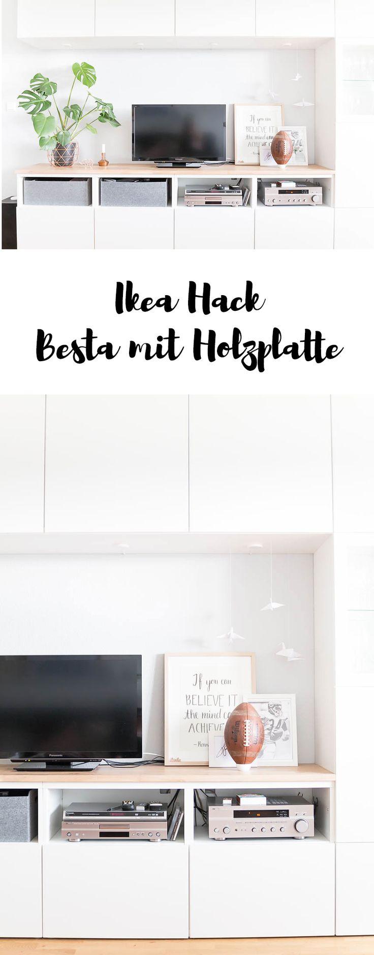 Mit diesem Ikea Hack machst du aus deinem Besta ein Designerstück! Du brauchst nur eine Holzplatte aus dem Baumarkt