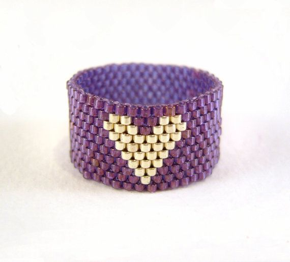 Seed Bead Ring: Purple and Silver Beaded Heart Ring Thumb, UK Seller