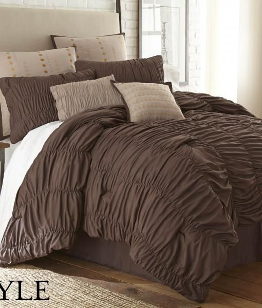 8 Piece Brown Microfiber Comforter Set - One Over sized-Overfilled Comforter, - Two Embellished Shams - One Tailored Bed skirt - Three Decorative Pillows (filled) - Two Euro shams - Microfiber Comfort