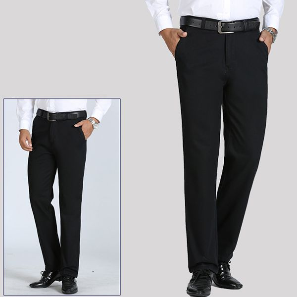 Mens Winter Thick Fleece Casual Dress Pants Straight Leg Warm Solid Color Pants