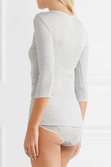 Hanro - Seraphina Leavers Lace-paneled Ribbed Wool And Silk-blend Jersey Top - Light gray - small