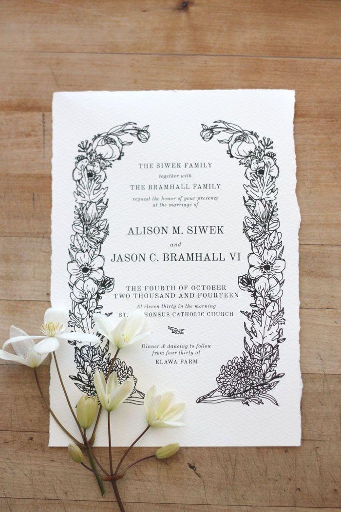 Just My Type Wedding Invitation & Wedding Stationery Design NZ Floral hand drawn illustration, watercolor paper, deckled edge, handmade paper, classic elegant