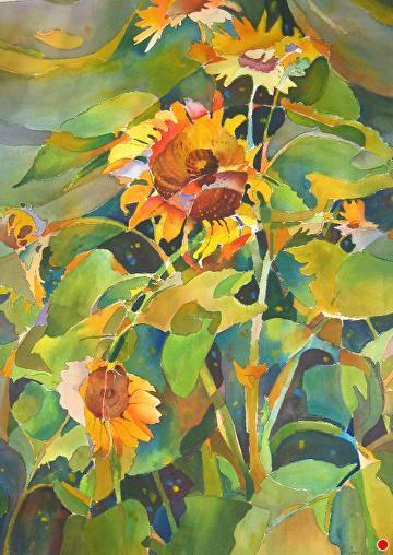 052310 Blowing in the Wind by Jane Jones Watercolor ~ 30 x 22