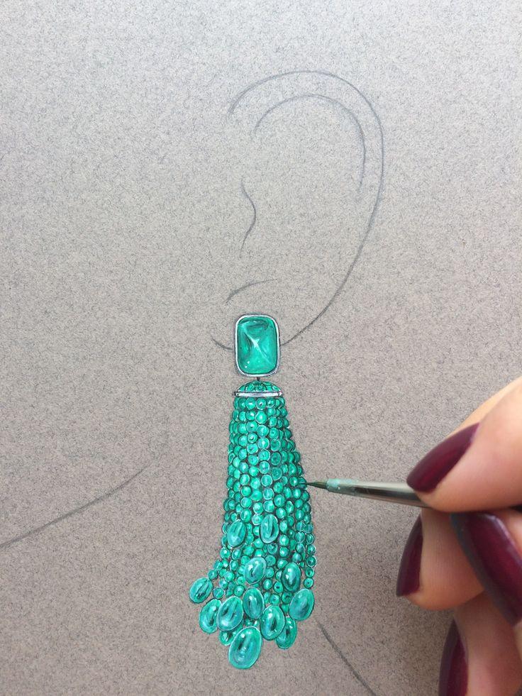 Statement emerald tassel earrings