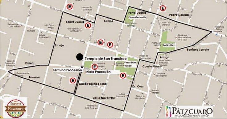 Mapa de la Procesión del Silencio en Pátzcuaro, Michoacán
