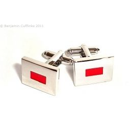 Red Letterbox Cufflinks - A simple red vermillion rectangle in the middle adds style to plain face.