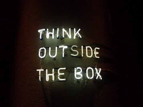 think outside the box - neon lights - Stylabl Words