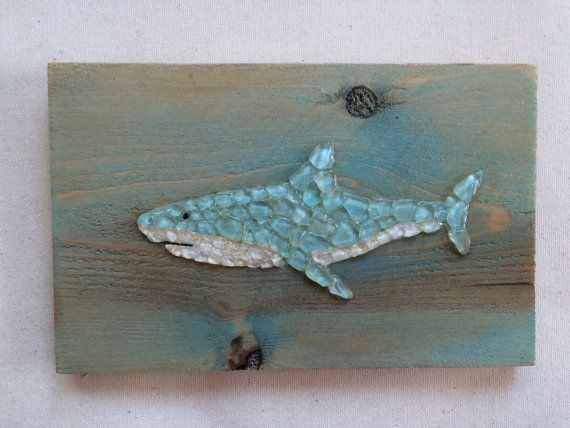Sea Glass art Shark baby blue and white sea glass art by SignsOf