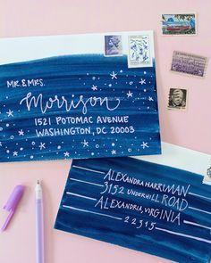 DIY Colorful Envelope Address Ideas - isn't that deep blue gorgeous? @oracle_spirit