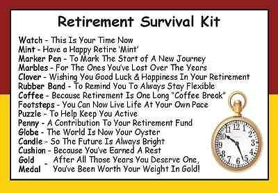 Retirement Survival Kit In A Can. Novelty Gift - Fun Present / Card